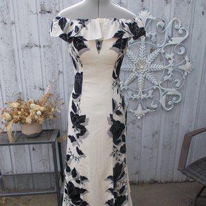 Black & White Floral Off Shoulder Gown w Side Slit